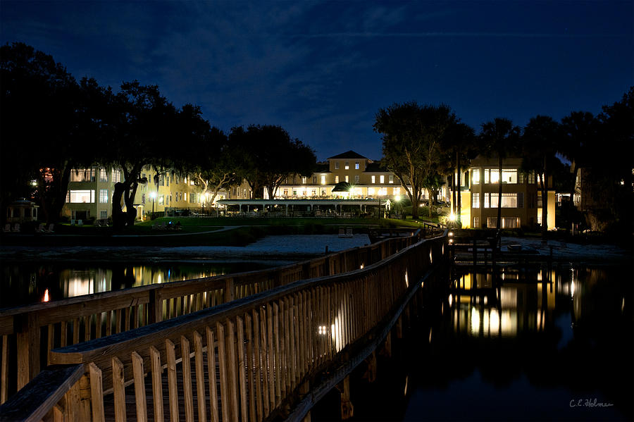 Lakeside Inn At Night Photograph