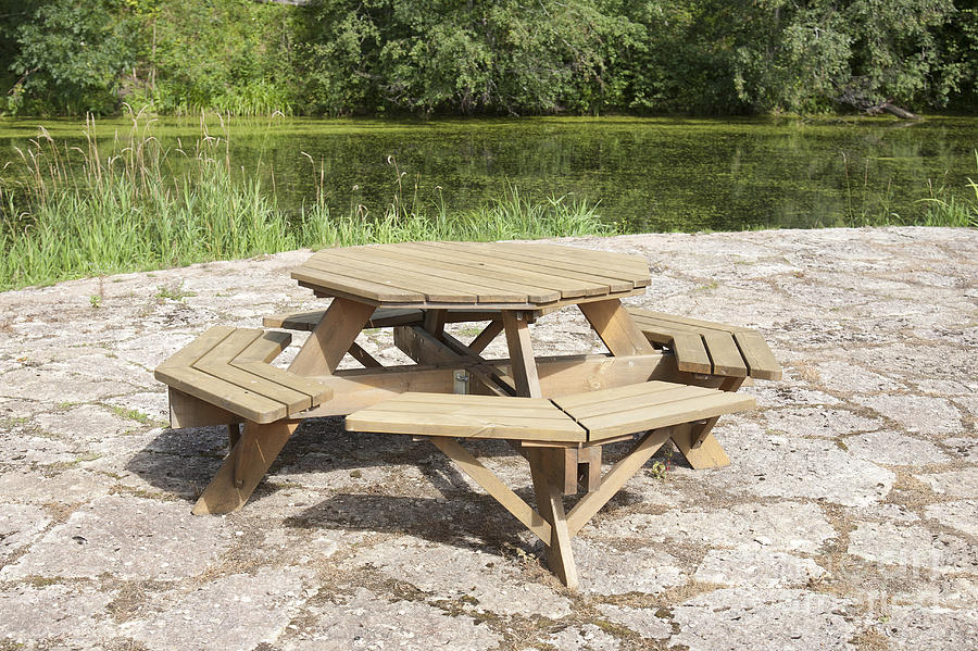 Lakeside Picnic Table Photograph