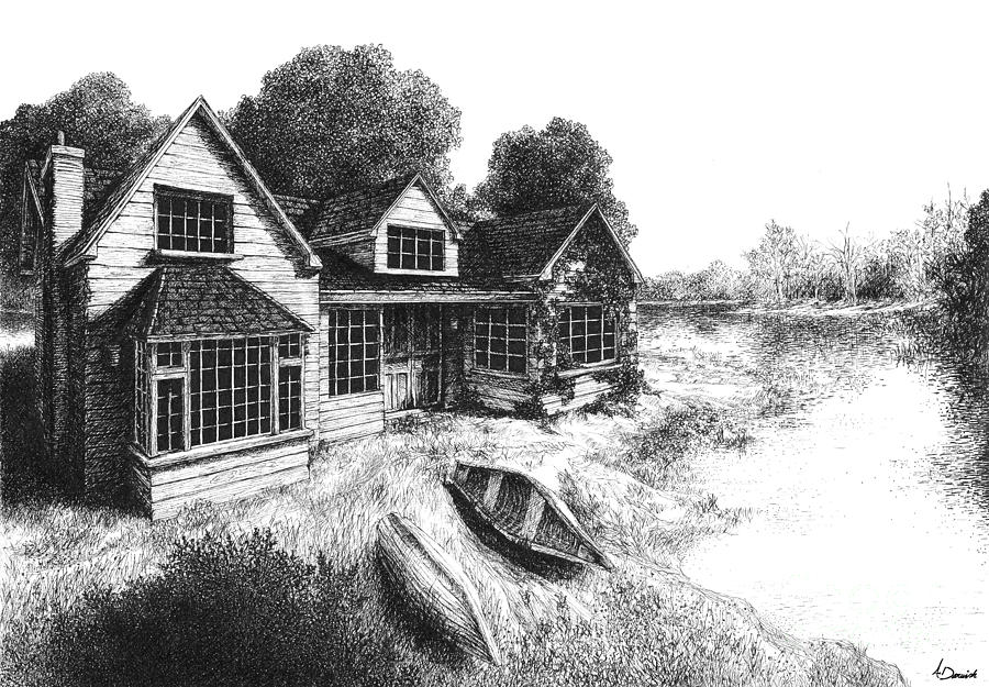 Lakeview Drawing  - Lakeview Fine Art Print