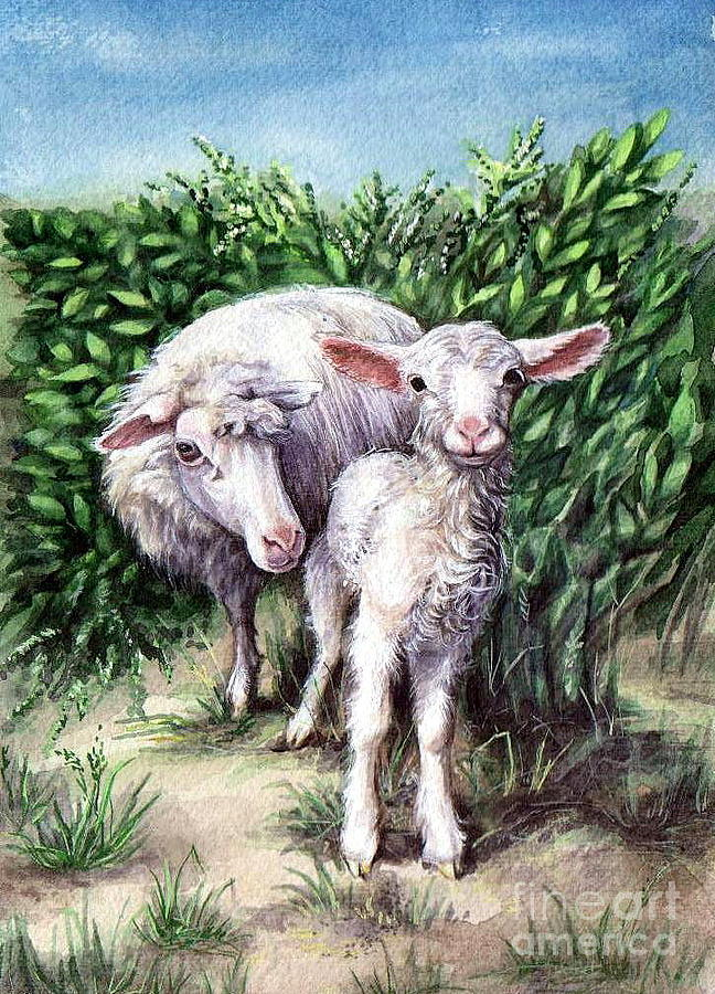 Lamb With His Mother Painting  - Lamb With His Mother Fine Art Print