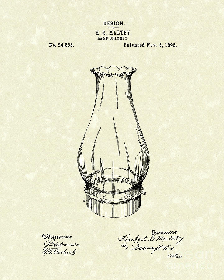 Lamp Chimney 1895 Patent Art Drawing  - Lamp Chimney 1895 Patent Art Fine Art Print