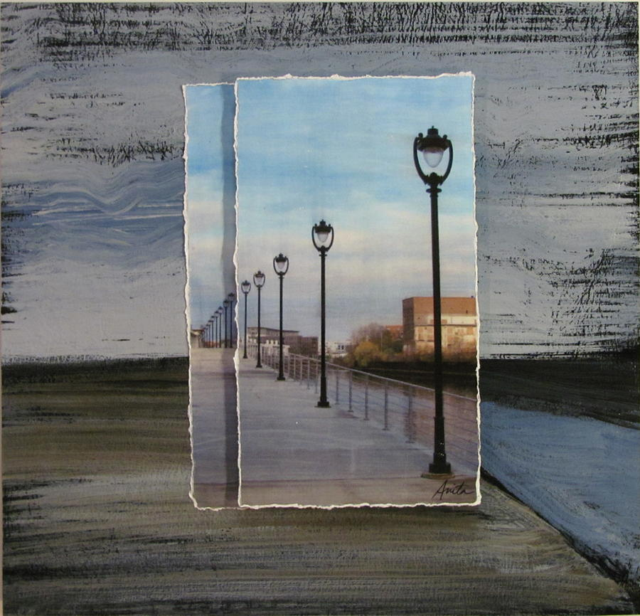 Lamp Post Row Layered Mixed Media