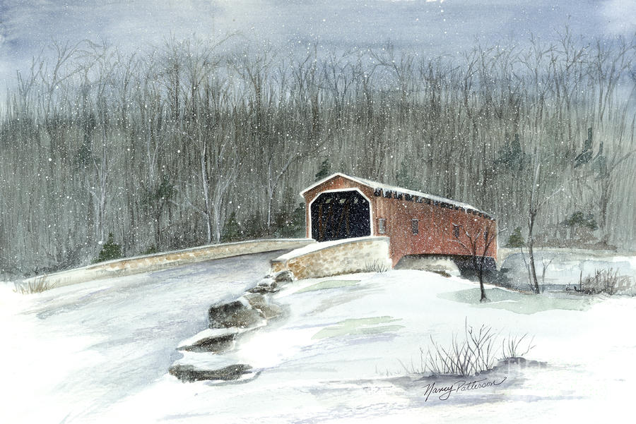 Lancaster County Covered Bridge In The Snow  Painting  - Lancaster County Covered Bridge In The Snow  Fine Art Print