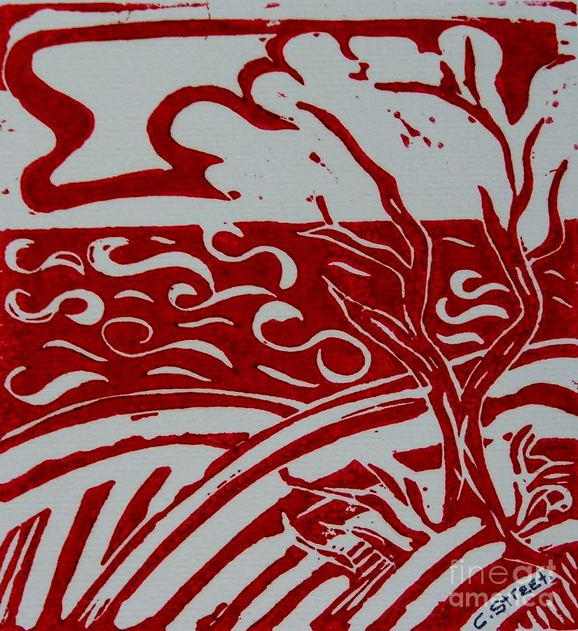 Land Sea Sky In Red And White Painting