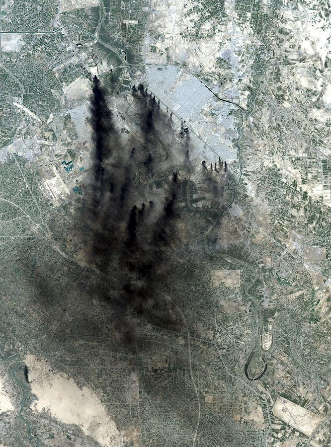 Landsat Image Of Baghdad Showing Dark Photograph  - Landsat Image Of Baghdad Showing Dark Fine Art Print