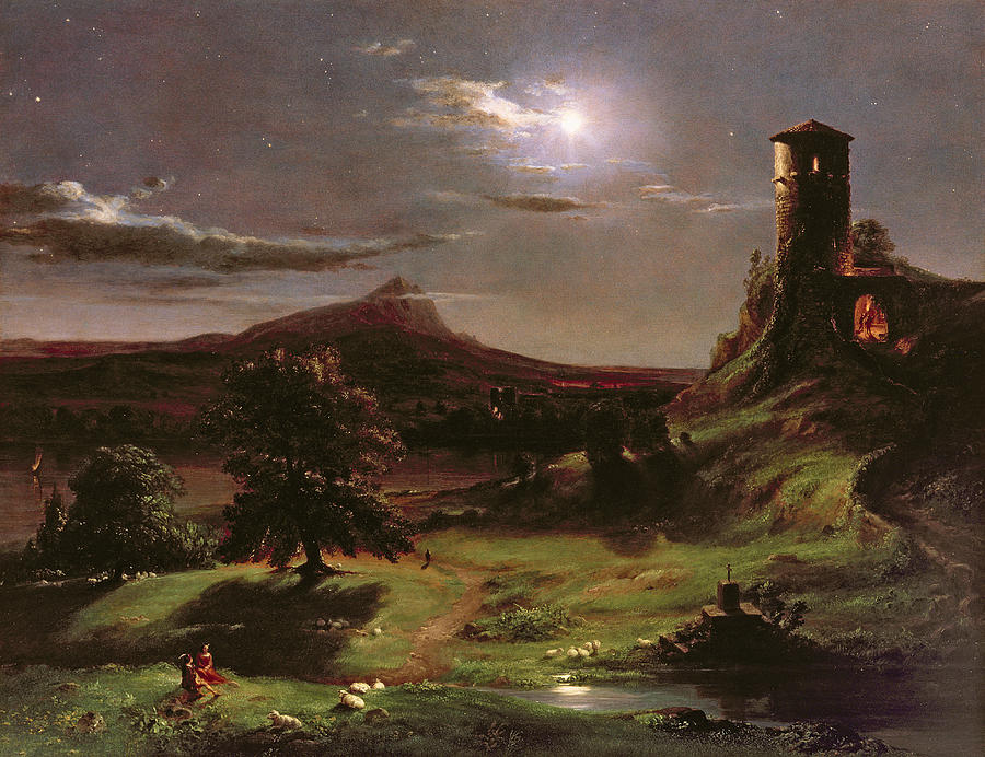Ruin; Ruins; Round Tower; Night; Evening; Dark; Valley; Sheep; River; Medieval; Wooing; Lovers; Serenading; Serenade; Hudson River School; Romantic; Rustic; Nocturne; River; Moon; Burial Site; Memorial; Cross; Painting - Landscape - Moonlight by Thomas Cole