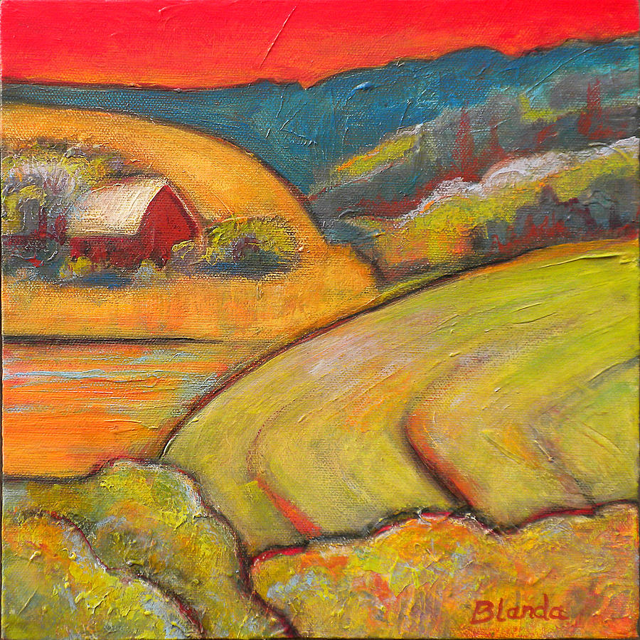 Landscape Art Orange Sky Farm Painting  - Landscape Art Orange Sky Farm Fine Art Print