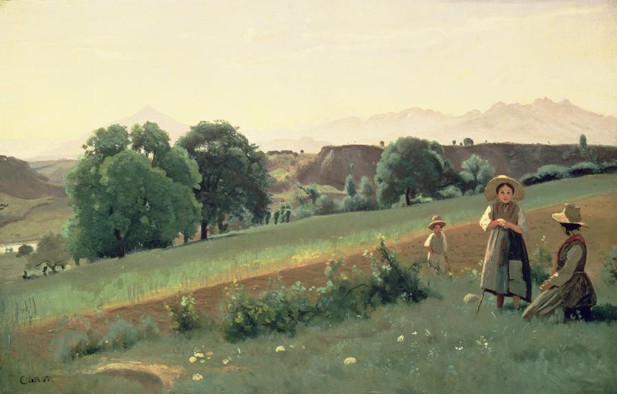 Landscape At Mornex Painting