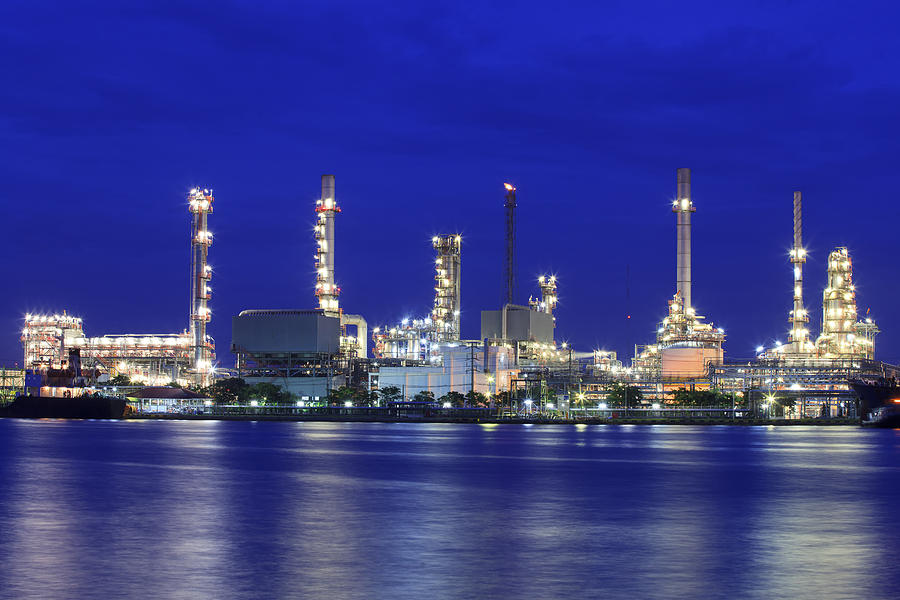 Landscape Of River And Oil Refinery Factory Photograph By