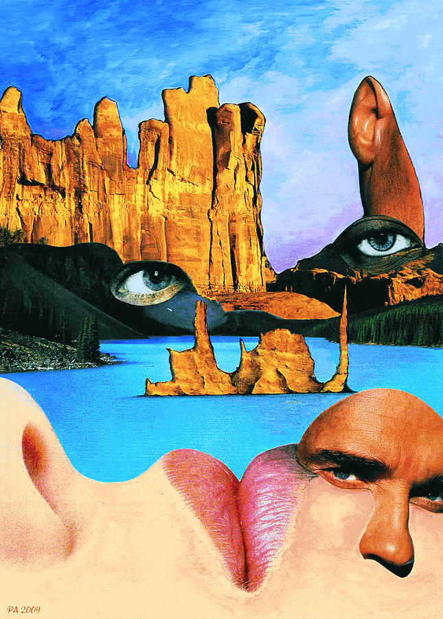Landscape With Faces - Collage Digital Art  - Landscape With Faces - Collage Fine Art Print
