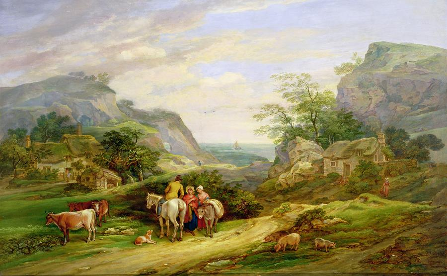 Landscape With Figures And Cattle Painting