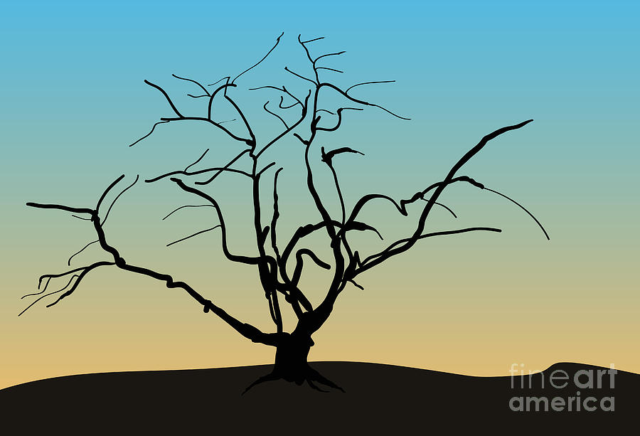 Landscape With Tree Digital Art