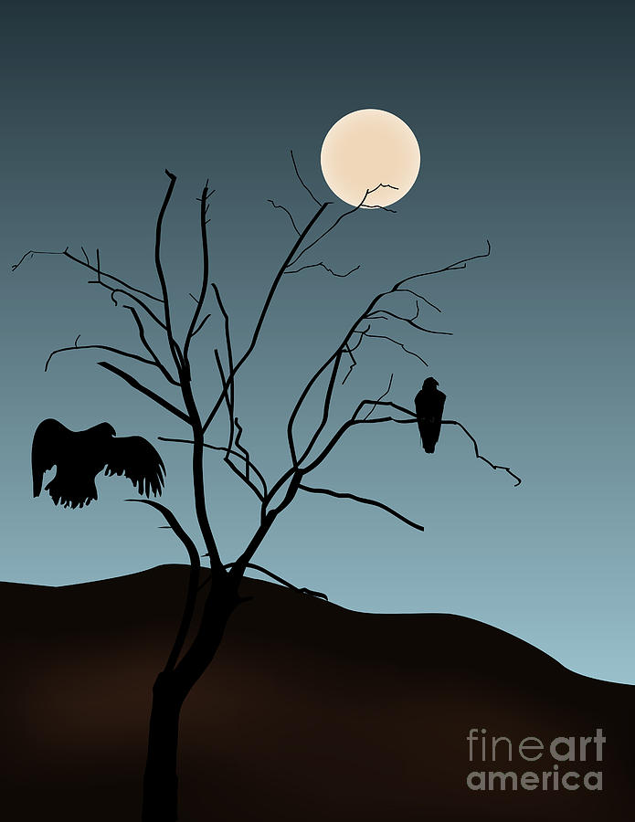 Landscape With Tree Vultures And Moon Digital Art