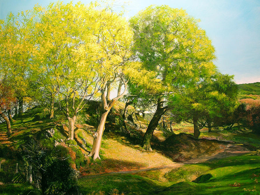 Landscape With Trees In Wales Painting  - Landscape With Trees In Wales Fine Art Print