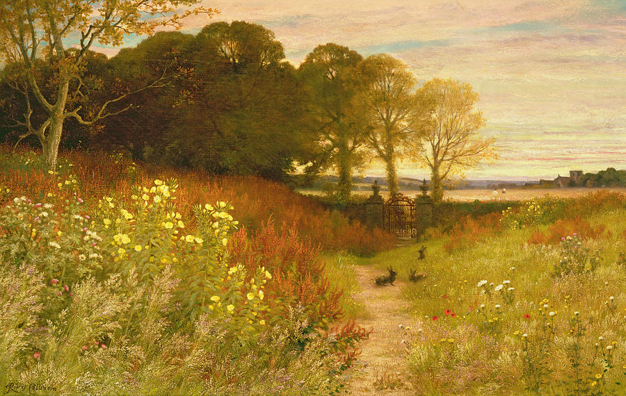 Landscape With Wild Flowers And Rabbits Painting