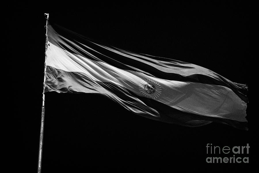 Large Argentinian Flag Flying In The Wind Against A Blue Sky Republic Of Argentina Photograph