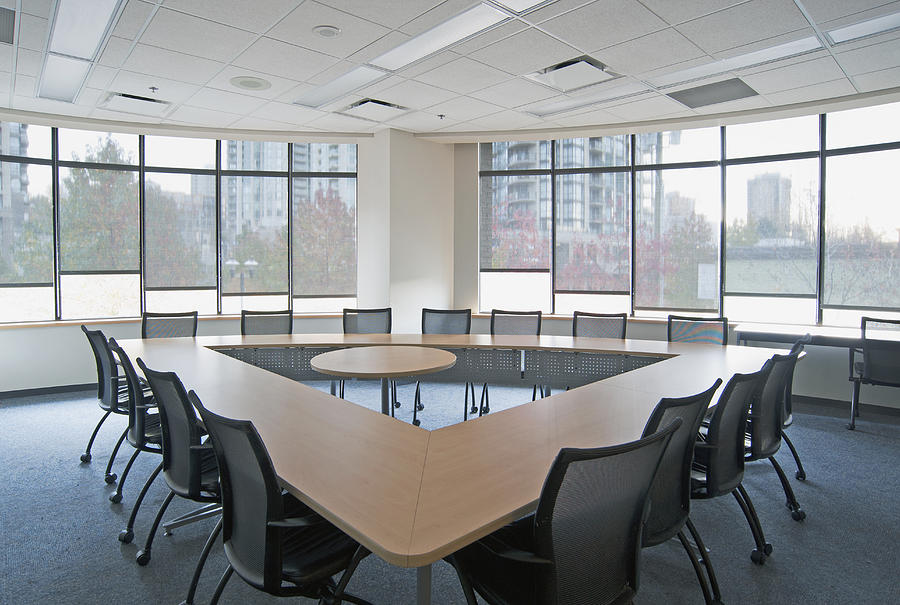 Large Empty Boardroom. A Long Narrow Photograph