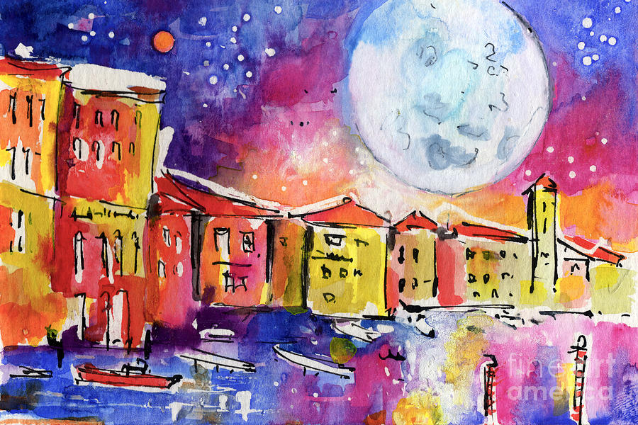 Large Moon Over Venice  Painting