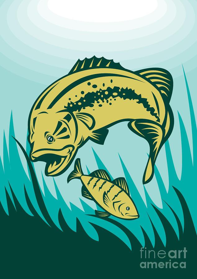 Largemouth Bass Preying On Perch Fish Digital Art