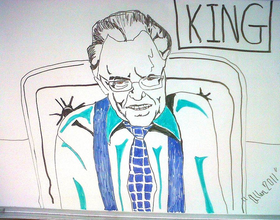 Illustration Drawing - Larry King by Allen Walters