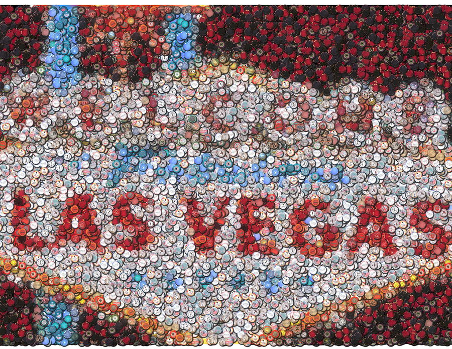 Las Vegas Sign Poker Chip Mosaic Mixed Media  - Las Vegas Sign Poker Chip Mosaic Fine Art Print