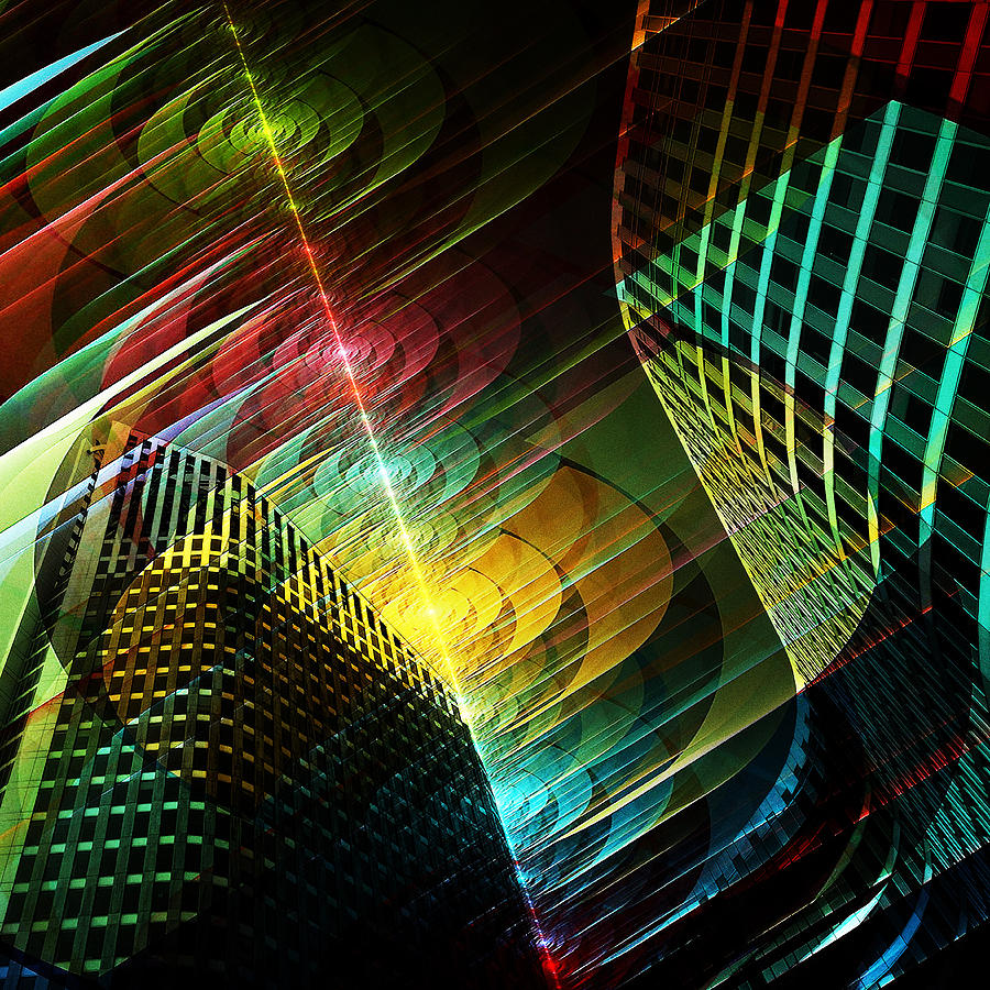 Laser Cityscape Digital Art By Andrzej Andrychowski