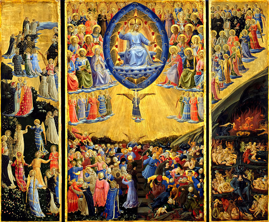 Last Judgment Winged Altar  Painting