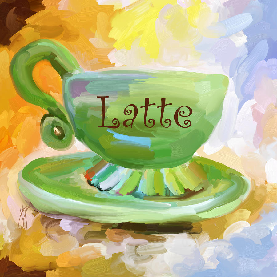 Latte Coffee Cup Painting