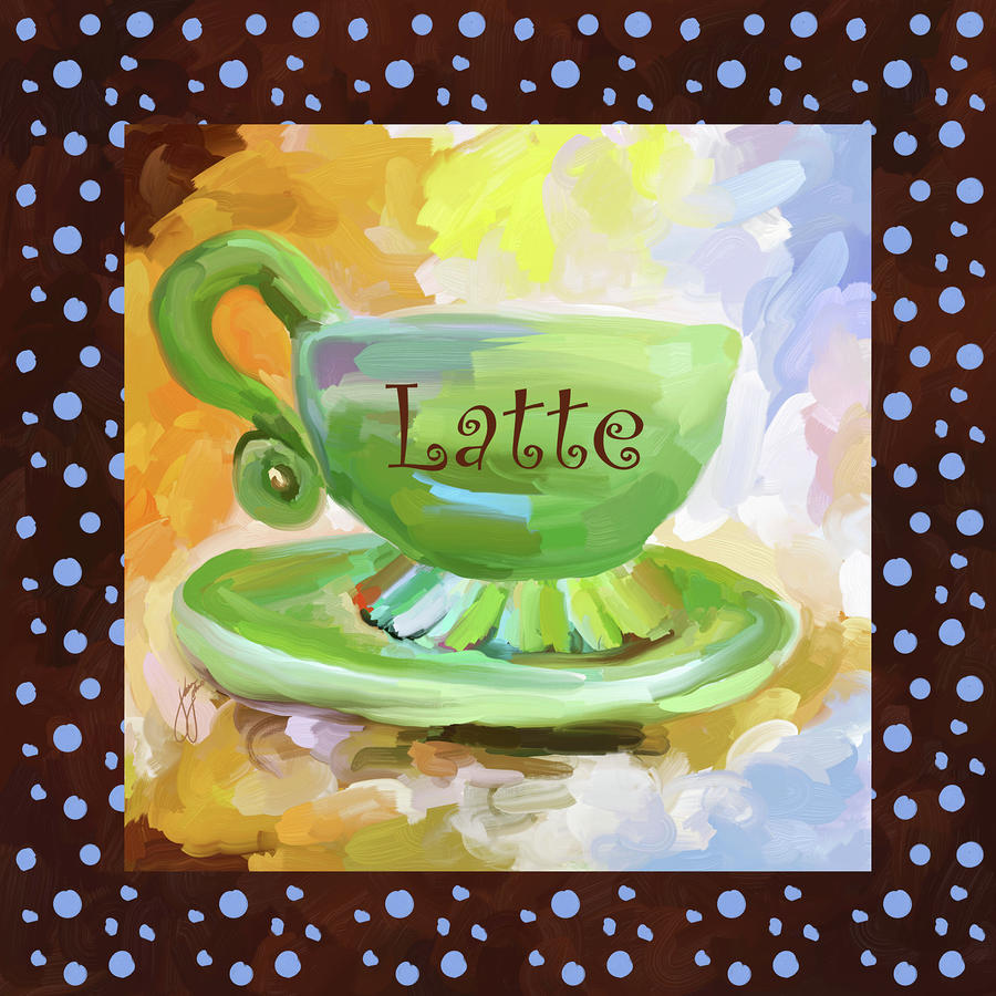 Latte Coffee Cup With Blue Dots Painting  - Latte Coffee Cup With Blue Dots Fine Art Print