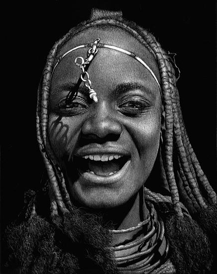 Relief - Laughing Himba Woman by Diana Lee
