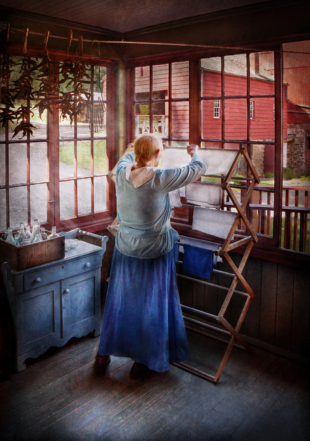Laundry - Miss Lady Blue  Photograph  - Laundry - Miss Lady Blue  Fine Art Print