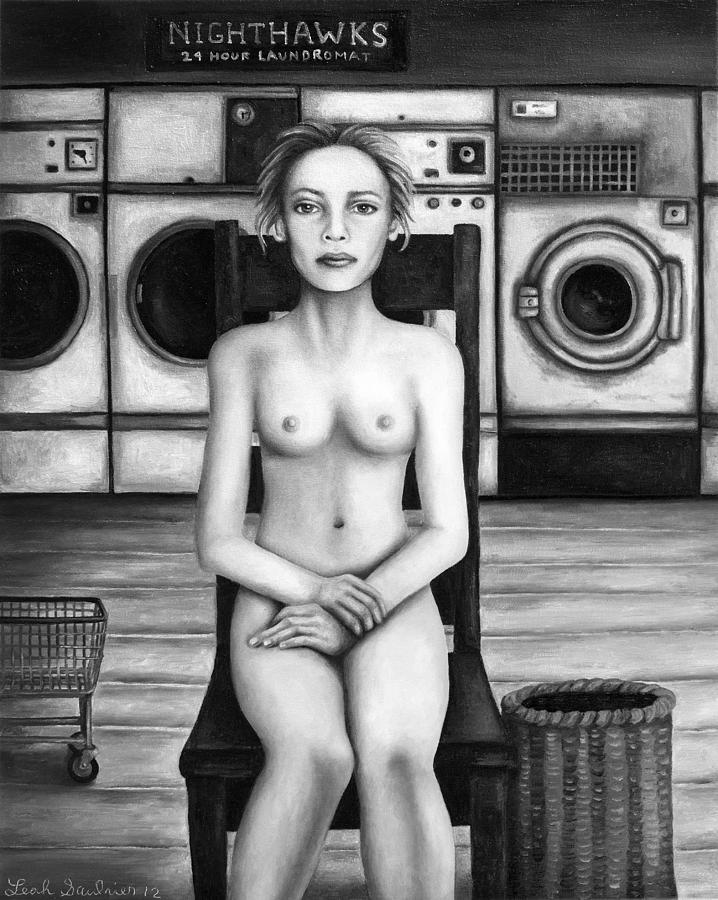 Nude Painting - Laundry Day 5 In Bw by Leah Saulnier The Painting Maniac
