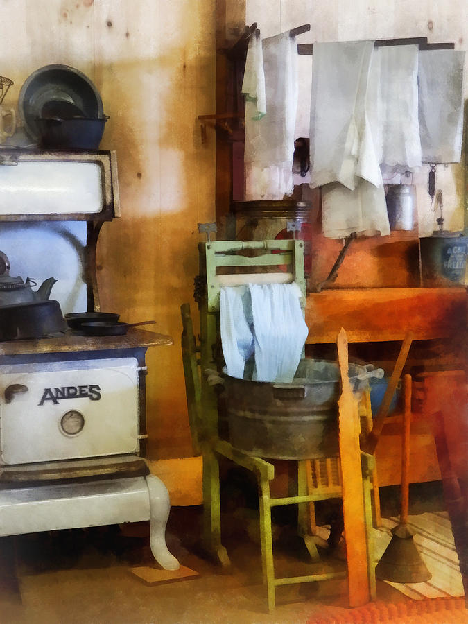 Farmhouse Photograph - Laundry Drying In Kitchen by Susan Savad