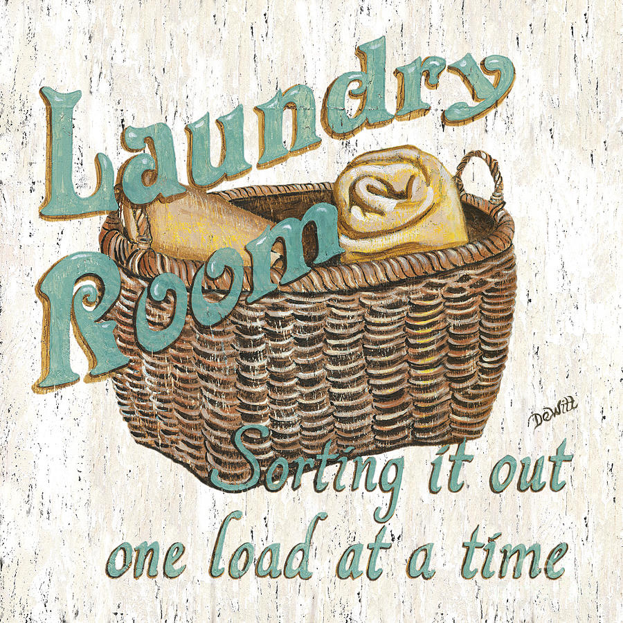 Laundry Room Sorting It Out Painting  - Laundry Room Sorting It Out Fine Art Print