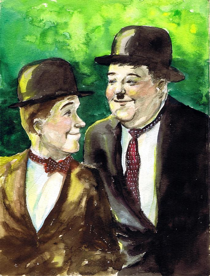Nostalgia Drawing - Laurel And Hardy by Mel Thompson
