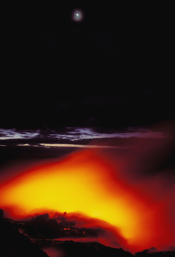 Lava And Moon Photograph