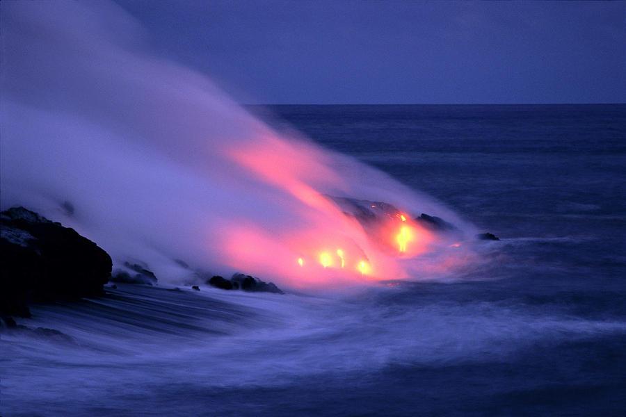 Lava And Pink Smoke Photograph