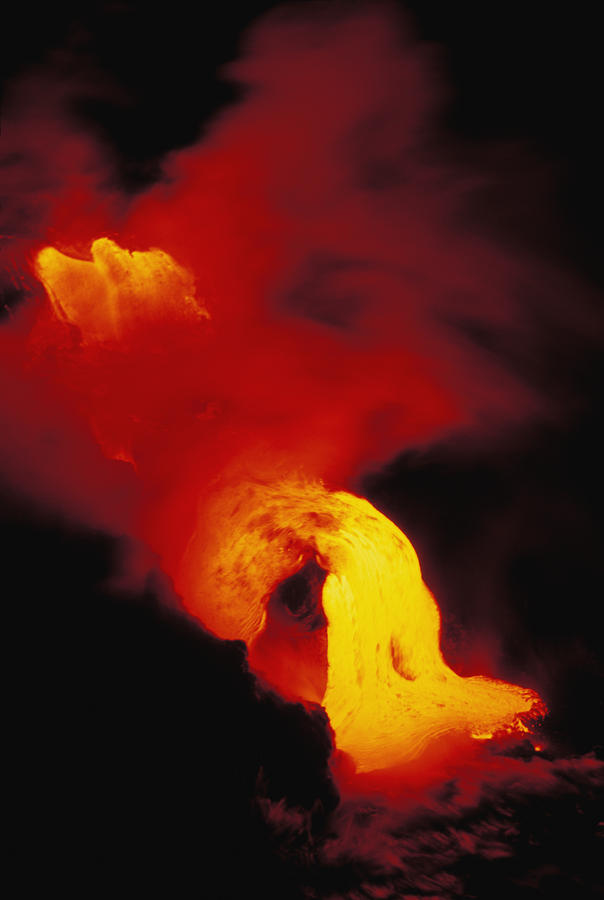 Lava Into The Sea Photograph