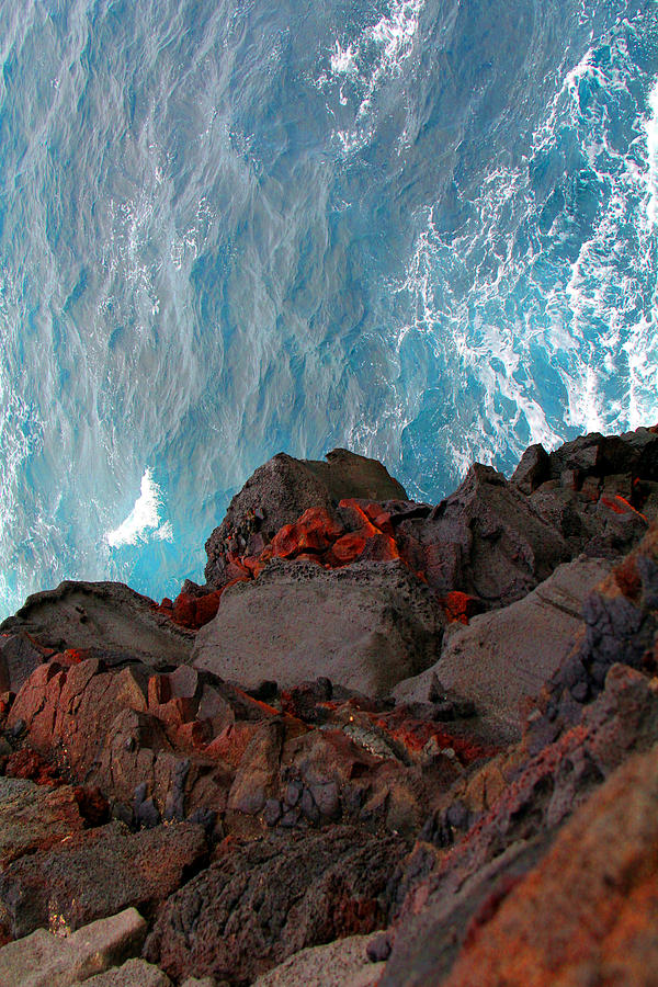 Lava Rocks And Ocean Water Photograph