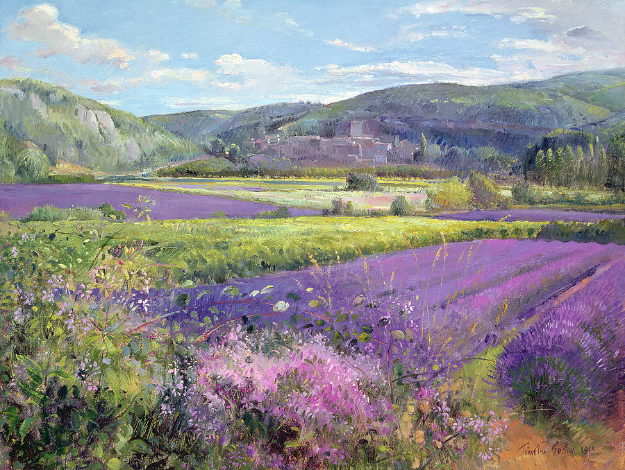 Lavender Fields In Old Provence Painting  - Lavender Fields In Old Provence Fine Art Print