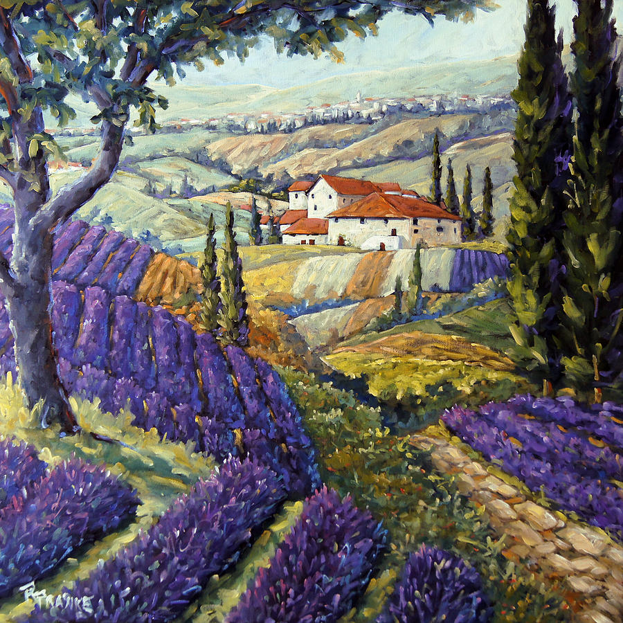 Lavender fields tuscan by prankearts fine arts painting
