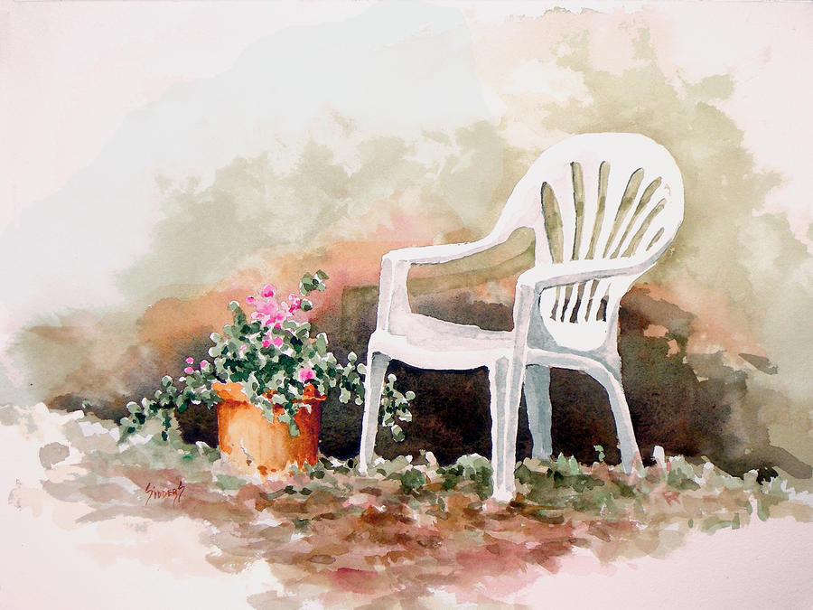 Lawn Chair With Flowers Painting  - Lawn Chair With Flowers Fine Art Print