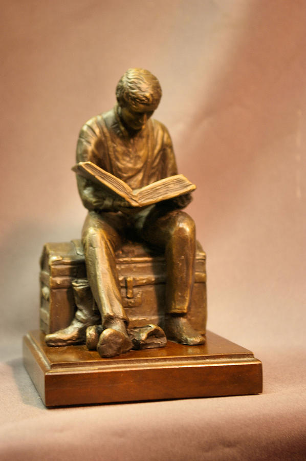 Lay Uo Your Treasures In Heaven Bronze Statue Of Joseph Smith On Trunk By Stan Watts Sculpture