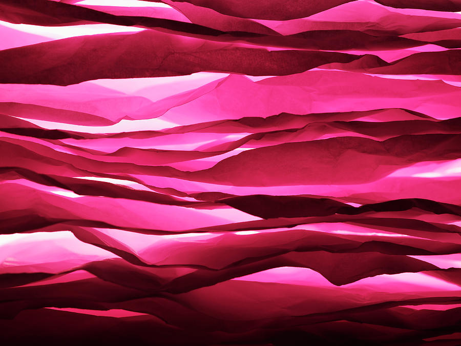 Layered Sheets Of Crumpled Pink Paper. Photograph