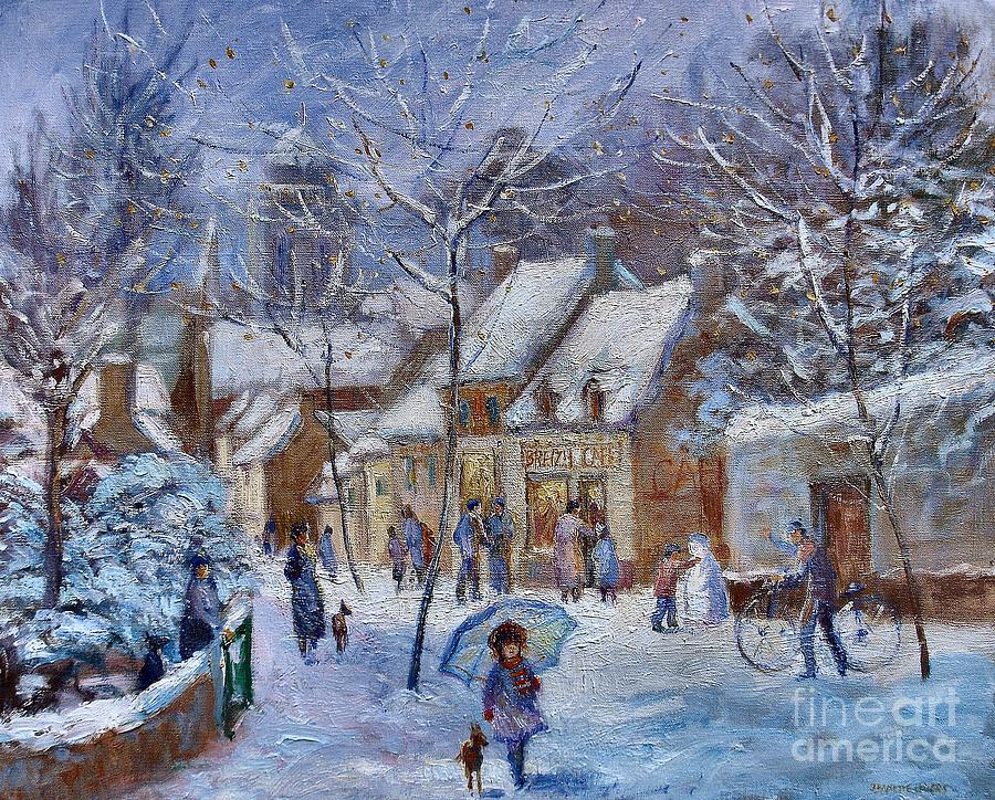 Le Cafe Breizh A Warm Welcome In The Winter Snow Painting  - Le Cafe Breizh A Warm Welcome In The Winter Snow Fine Art Print