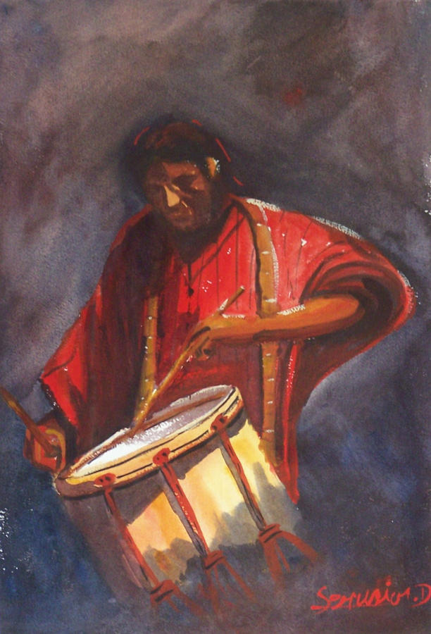 Le Joueur De Tambour  The Drum Player Painting  - Le Joueur De Tambour  The Drum Player Fine Art Print