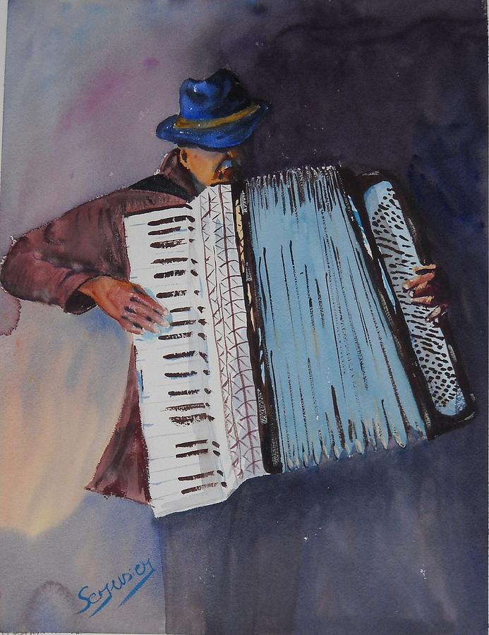 Le Vieil Accordeoniste  The Old Accordion Painting  - Le Vieil Accordeoniste  The Old Accordion Fine Art Print