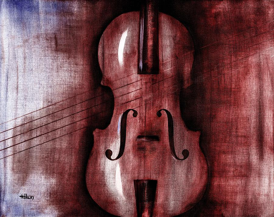 Le Violon Rouge Painting  - Le Violon Rouge Fine Art Print