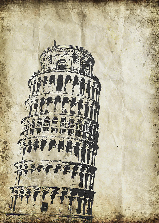 Leaning Tower Of Pisa On Old Paper Photograph  - Leaning Tower Of Pisa On Old Paper Fine Art Print