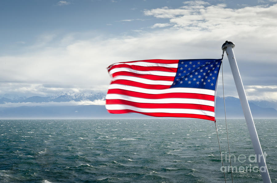 Flag Photograph - Leaving The Olympics Stars And Stripes On The Straits From The Olympic Mountains by Andy Smy